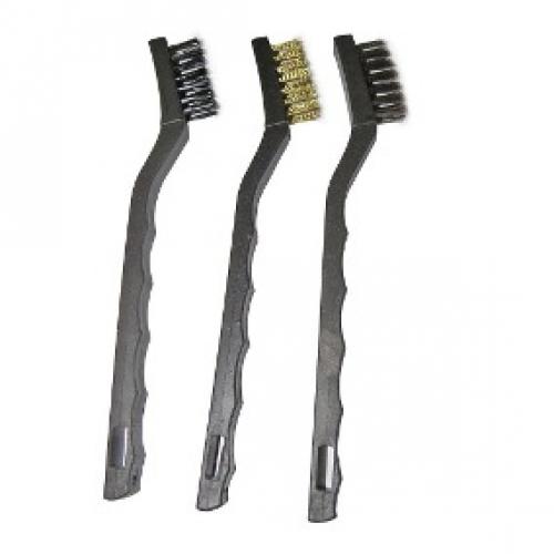 Escova de a�o pequena c| cabo plastico - 03 por pacote