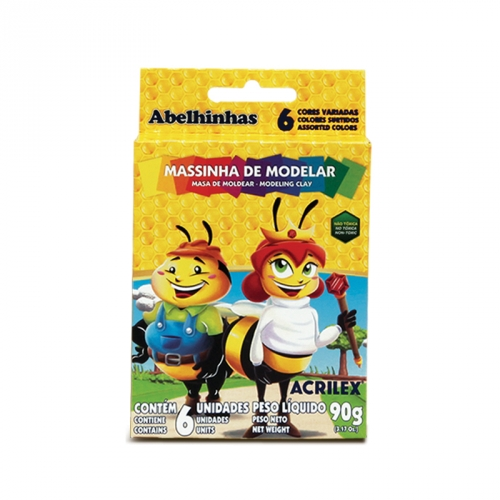 MASSA DE MODELAR BASE DE CERA ACRILEX 6 CORES 90G