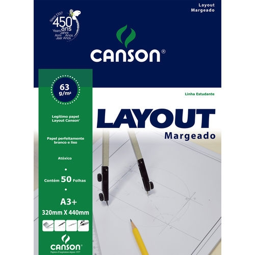 PAPEL LAYOUT MARGEADO A3+ 60G CANSON
