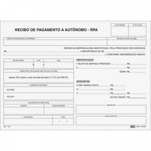 RECIBO PAGAMENTO AUTONOMO RPA 3 VIAS TILIBRA