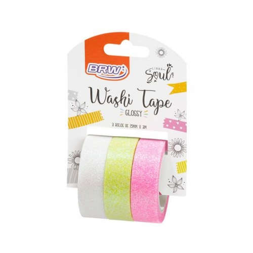 WASHI TAPE BRW 3 CORES GLOSSY BR/AM/RS WT0101