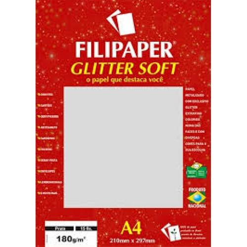 PAPEL GLITTER A4 180G PRATA 15FLS FILIPAPER