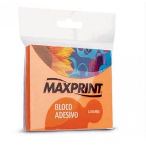 BLOCO ADESIVO 76X76 MAXPRINT NEON LARANJA 100FLS