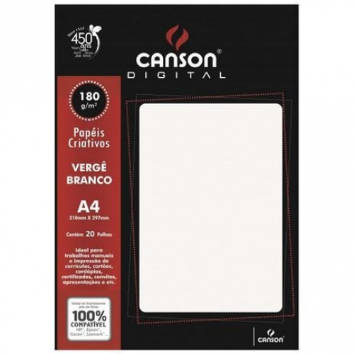 PAPEL VERGE A4 180G BRANCO 20FLS CANSON