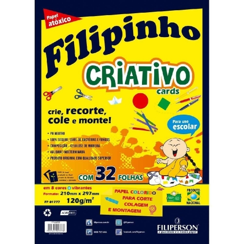 PAPEL CRIATIVO A4 120G 32FLS FILIPINHO