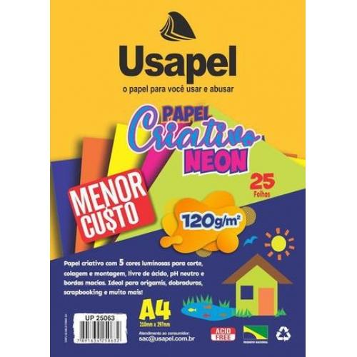 PAPEL CRIATIVO A4 120G 25FLS USAPEL NEON
