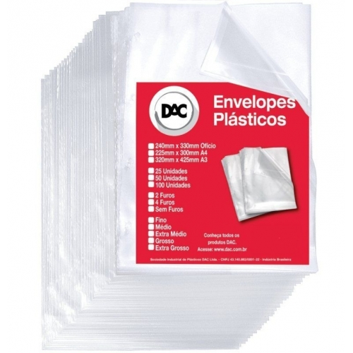ENVELOPE PLASTICO DAC A4 GROSSO SEM FUROS 10UNDS
