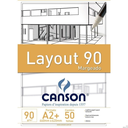 PAPEL LAYOUT MARGEADO A2+ 90G CANSON