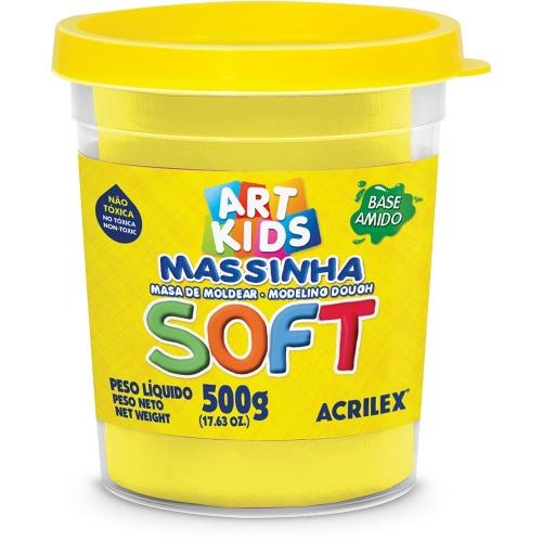 MASSA DE MODELAR BASE DE AMIDO ACRILEX SOFT 500G AMARELO LIM