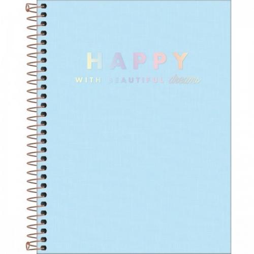 CADERNO COLEGIAL 10M CD TILIBRA HAPPY AZUL