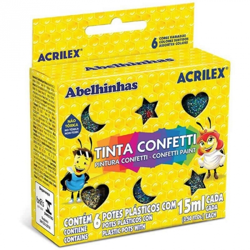 TINTA CONFETTI ACRILEX 6 CORES 15ML