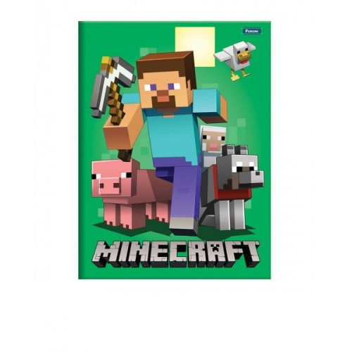 CADERNO BROCHURA 1/4 CD 96FLS FORONI MINECRAFT