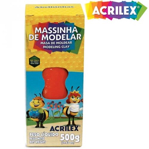 MASSA DE MODELAR BASE DE CERA ACRILEX 500G VERMELHO FOGO