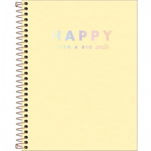 CADERNO COLEGIAL 01M CD TILIBRA HAPPY AMARELO