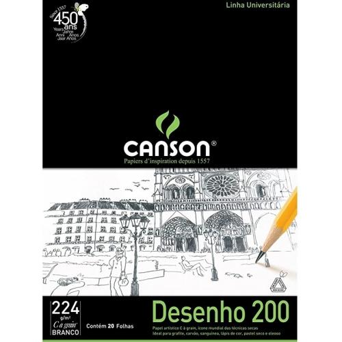 PAPEL DESENHO BRANCO A2 200G 20FLS CANSON