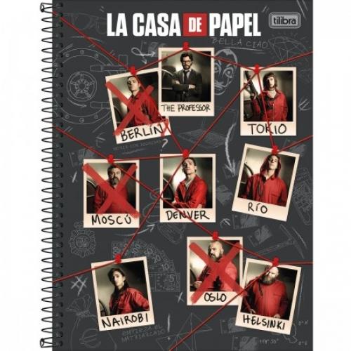 CADERNO UNIVERSITARIO 01M CD TILIBRA LA CASA DE PAPEL