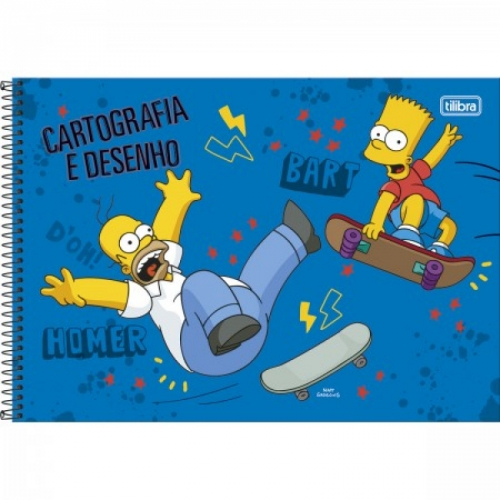 CADERNO CARTOGRAFIA CD 96FLS TILIBRA SIMPSONS