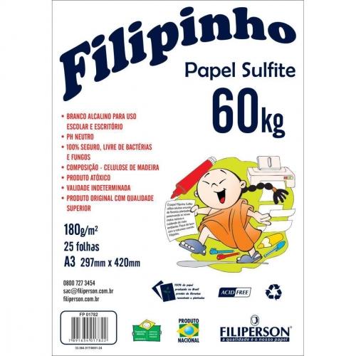 PAPEL SULFITE A3 180G 25FLS FILIPINHO