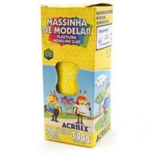 MASSA DE MODELAR BASE DE CERA ACRILEX 500G AMARELO OURO