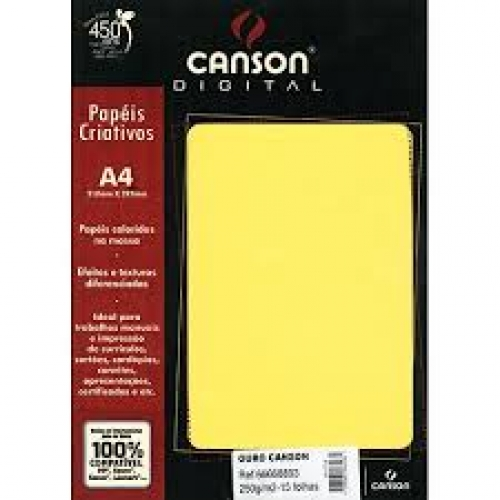 PAPEL BRILHO A4 250G OURO 15FLS CANSON