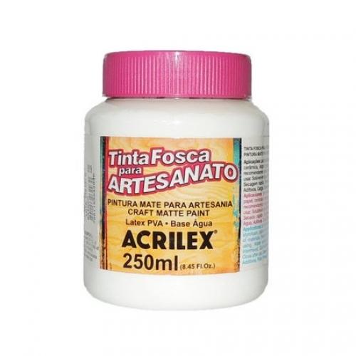 TINTA ACRILICA FOSCA ARTESANATO ACRILEX 250ML BRANCO