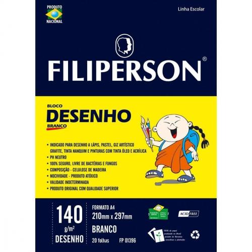 PAPEL DESENHO BRANCO A4 140G 20FLS FILIPERSON