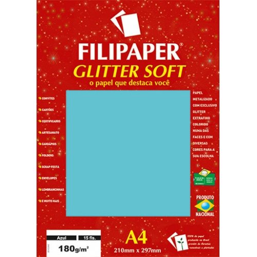 PAPEL GLITTER A4 180G AZUL 15FLS FILIPAPER