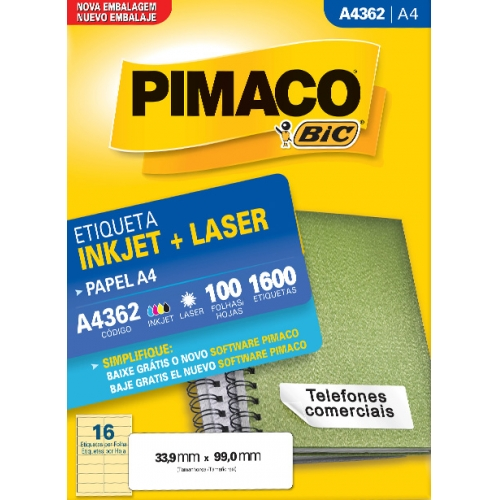 ETIQUETA A4 100FLS PIMACO A4362
