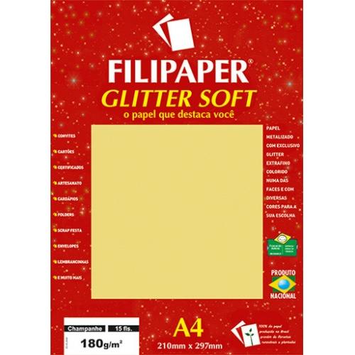 PAPEL GLITTER A4 180G CHAMPANHE 15FLS FILIPAPER