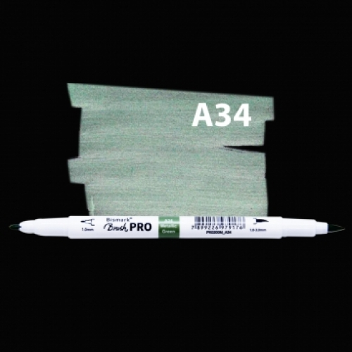 MARCADOR PERMANENTE BISMARK DUAL BRUSH METALICA GREEN A34