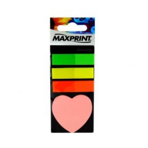 MARCA PAGINA ADESIVO MAXPRINT 3 CORES CORACAO 95FLS