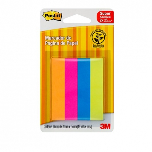 MARCA PAGINA 3M POST IT FLAGS PAPEL 4 CORES