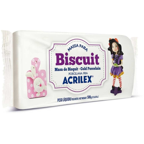MASSA BISCUIT ACRILEX 500G BRANCO