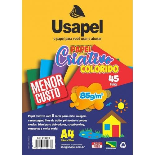PAPEL CRIATIVO A4 085G 45FLS USAPEL