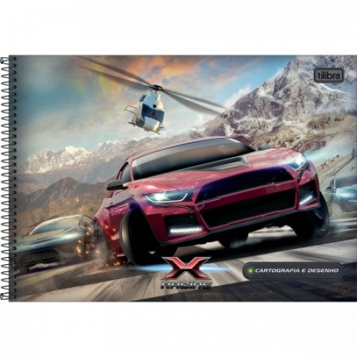 CADERNO CARTOGRAFIA CD 80FLS TILIBRA X-RACING