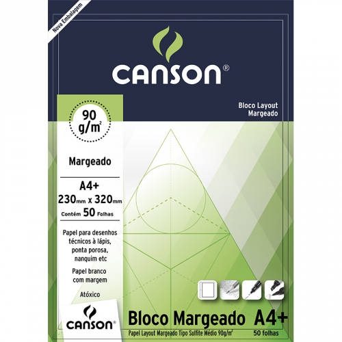 PAPEL LAYOUT MARGEADO A4+ 90G CANSON