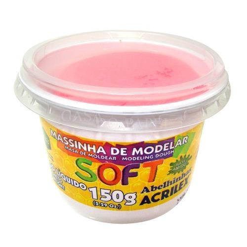 MASSA DE MODELAR BASE DE AMIDO ACRILEX SOFT 150G ROSA MARAVI