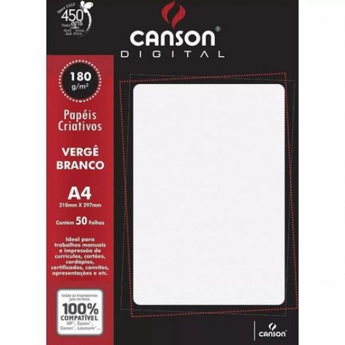 PAPEL VERGE A4 180G BRANCO 50FLS CANSON