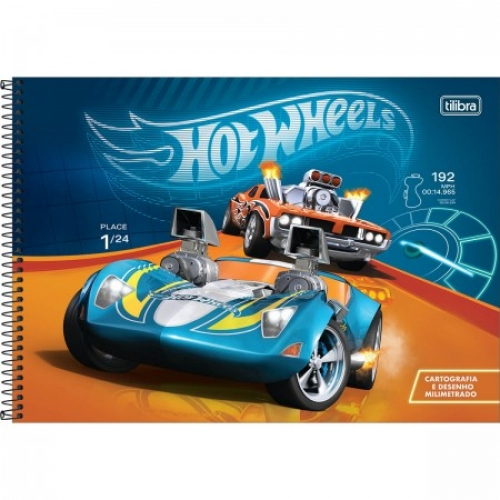 CADERNO CARTOGRAFIA CD MILIMETRADO 80FLS TILIBRA HOT WHEELS