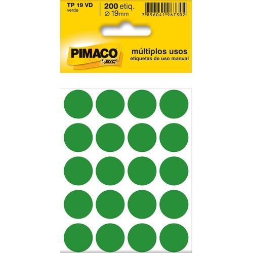 ETIQUETA REDONDA 19MM PIMACO TP-19 VERDE