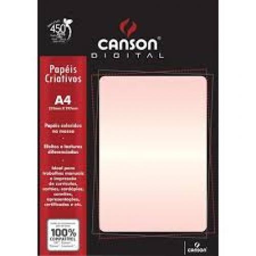 PAPEL BRILHO A4 250G ROSA PEROLA 15FLS CANSON