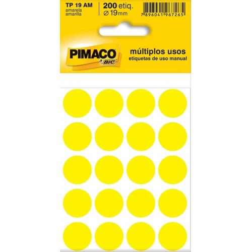 ETIQUETA REDONDA 19MM PIMACO TP-19 AMARELA