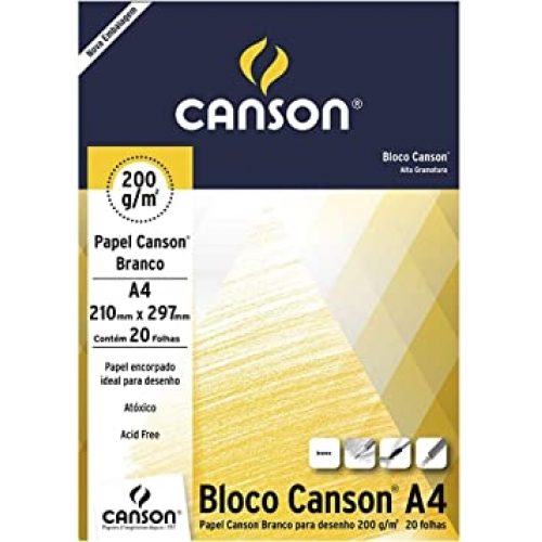 PAPEL DESENHO BRANCO A4 200G 20FLS CANSON