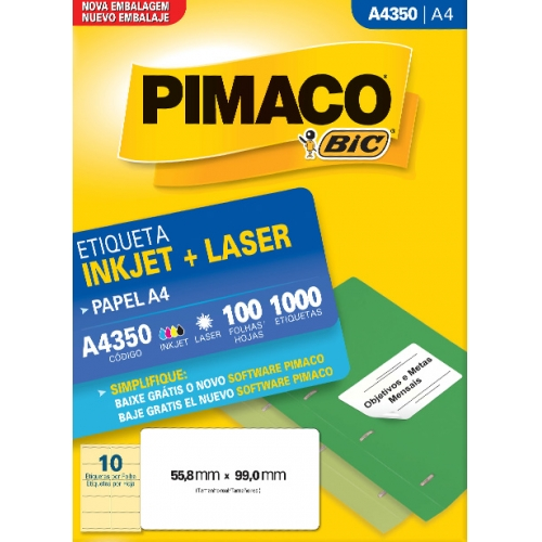 ETIQUETA A4 100FLS PIMACO A4350