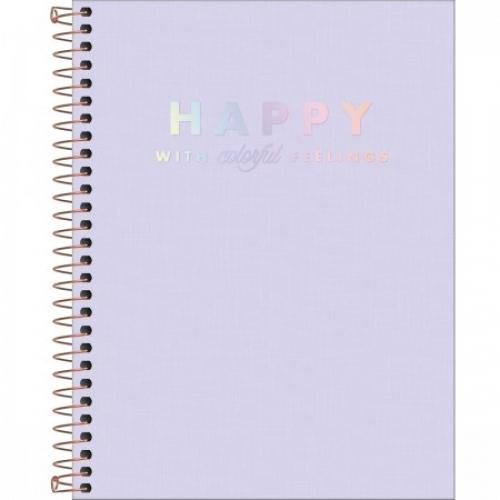 CADERNO COLEGIAL 01M CD TILIBRA HAPPY LILAS