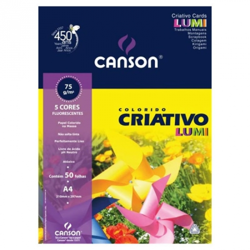 PAPEL CRIATIVO A4 075G 50FLS CANSON LUMI