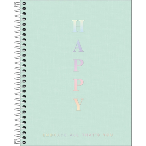 CADERNO COLEGIAL 01M CD TILIBRA HAPPY AZUL