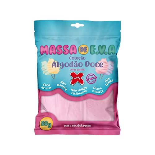 MASSA DE EVA MAKE + 50G ROSA ALGODAO DOCE