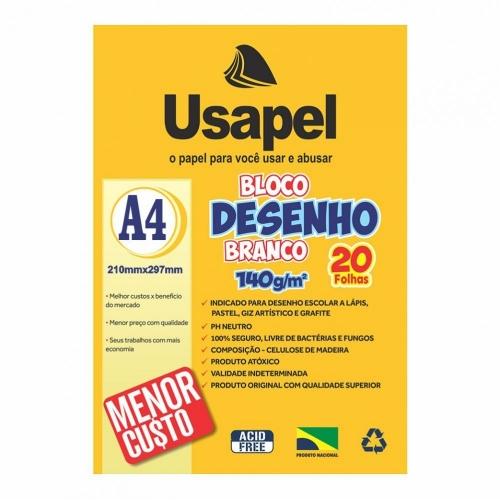 PAPEL DESENHO BRANCO A4 140G 20FLS USAPEL