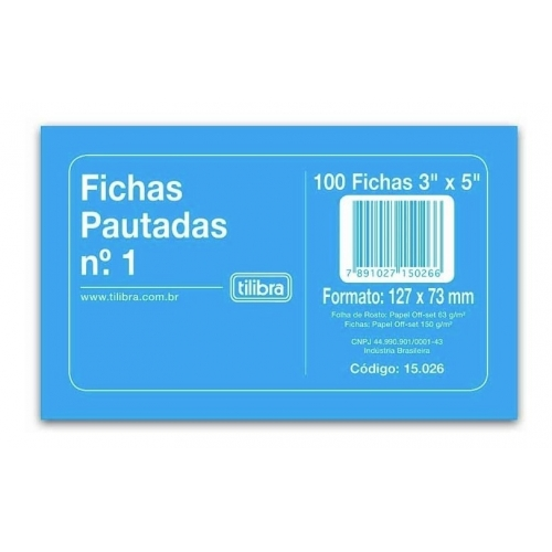 FICHA PAUTADA N1 3X5 100FLS TILIBRA